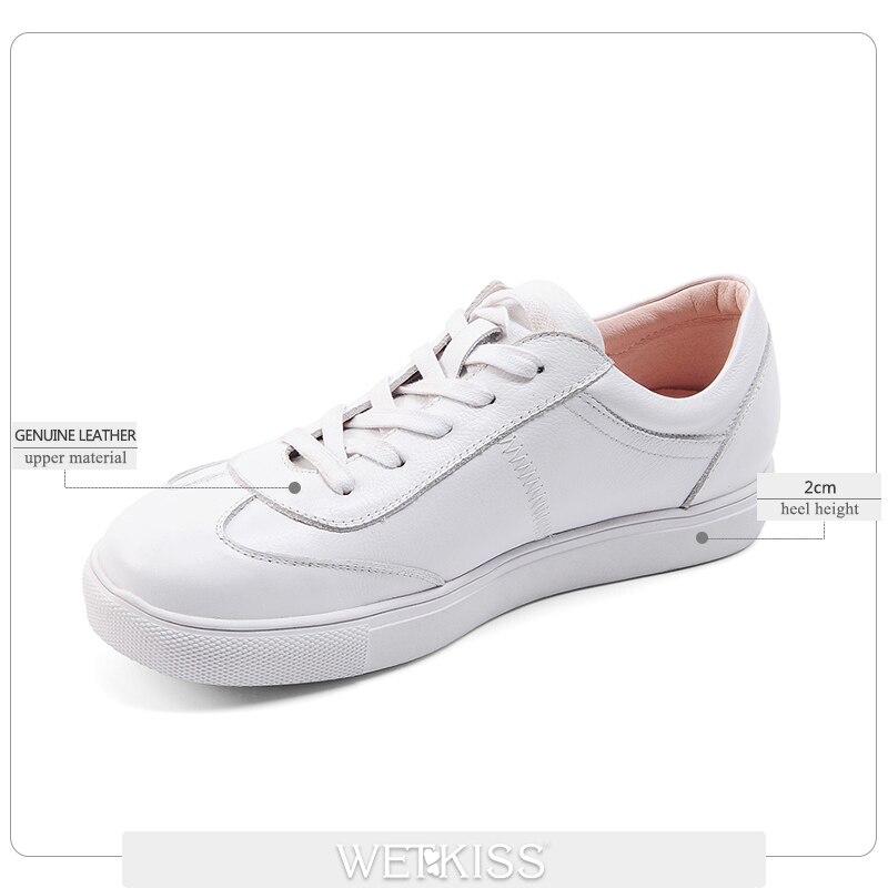 Véritable Chaussures En Bout Mode Printemps Coudre Blanc Casual Rond forme blanc Lace Noir Femmes Appartements Plate Wetkiss À Up Cuir Ascenseur 0ZgqwzI