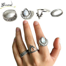 4pcs/set Bohemian Vintage Finger Rings Set Anillos For Women Fashion Jewelry Moon Midi Ring