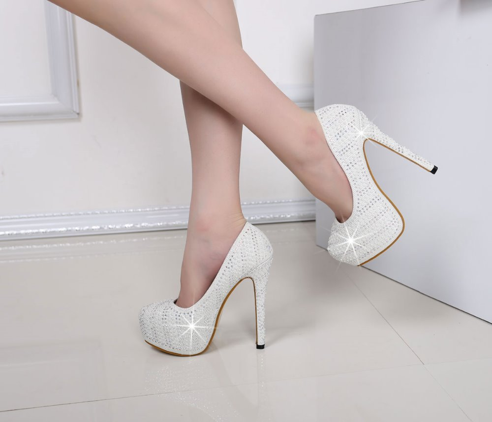 2015 ladies rhinestone platform shoes gold white crystal pearl wedding high heels sexy women party dresses bridal pumps 068