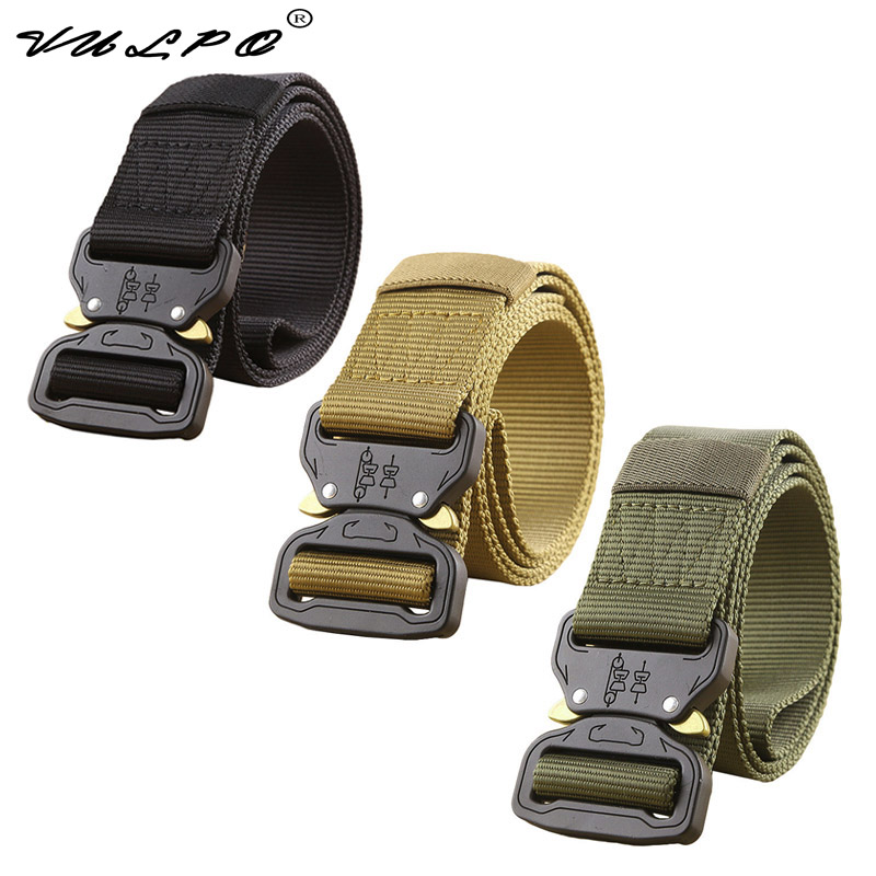 VULPO Military Equipment Army Tactical Belt Men Thicken Metal Buckle Sturdy Nylon Combat Belts