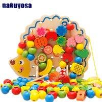 Learning Education Wooden Toys Hedgehog Fruit Beads Montessori Oyuncak Educational Toy For Children best gift