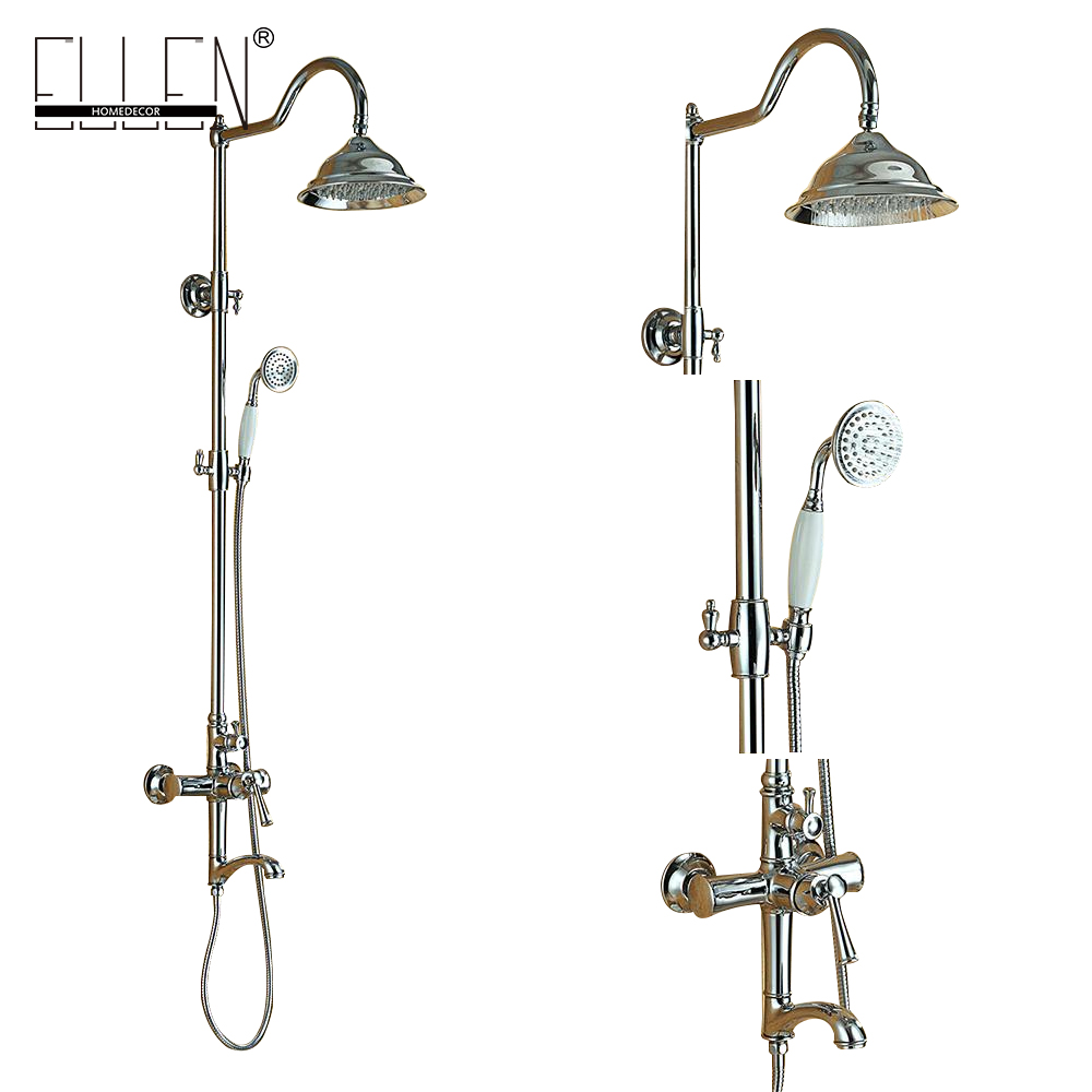 Bathroom Rain Shower Set Wall Mount Shower Faucet Mixer Tap w/ Rain Shower Head & Handheld Shower Chrome Finished ML8503 antique brass bathroom rain shower set faucet wall mount mixer tap with handheld shower head