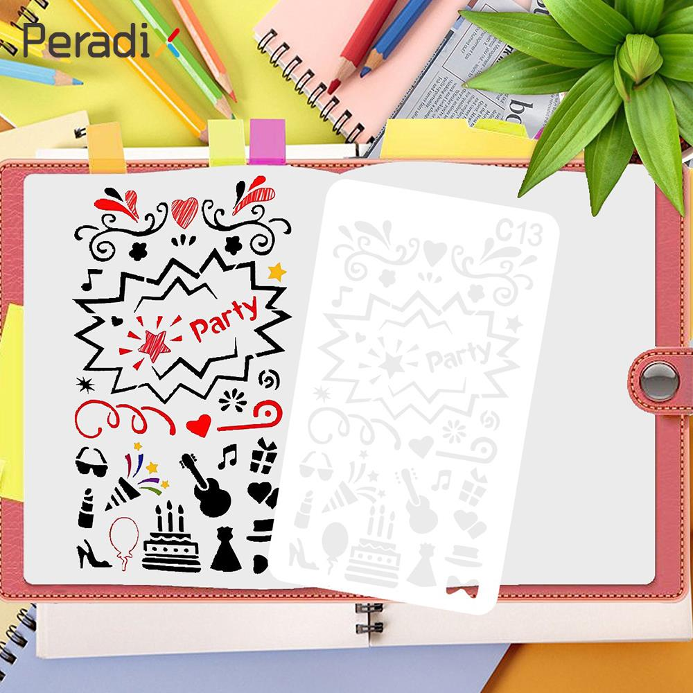 Peradix Drawing Template Hollow out Ruler White Mixed Packing DIY Educational Birthday Gifts Scrapbook