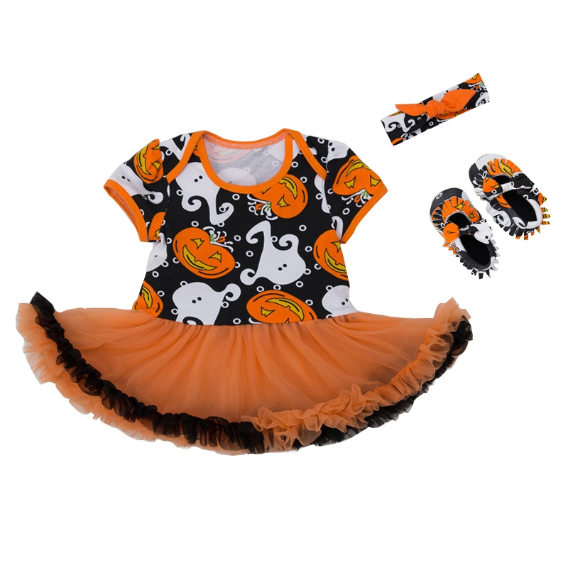 2017 Halloween Pumpkin Baby Clothes Sets Newborn Infant Boy Girl Short Sleeve Bodysuits  ...