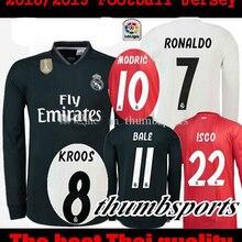 5e7c96164 2019 Direalisasikan Madrided Sepak Bola Jersey Dewasa Lengan Panjang 18 19  Jauh 3RD Mariano Bale Benzema