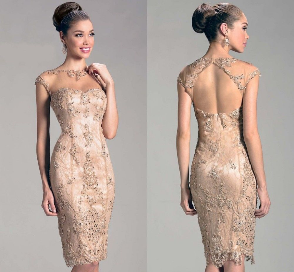 Champagne Mother Of The Bride Lace Dresses Rhinestone Beaded Cap Sleeve Short Hot Sexy Open Sheer Back Mother Of The Groom Dress