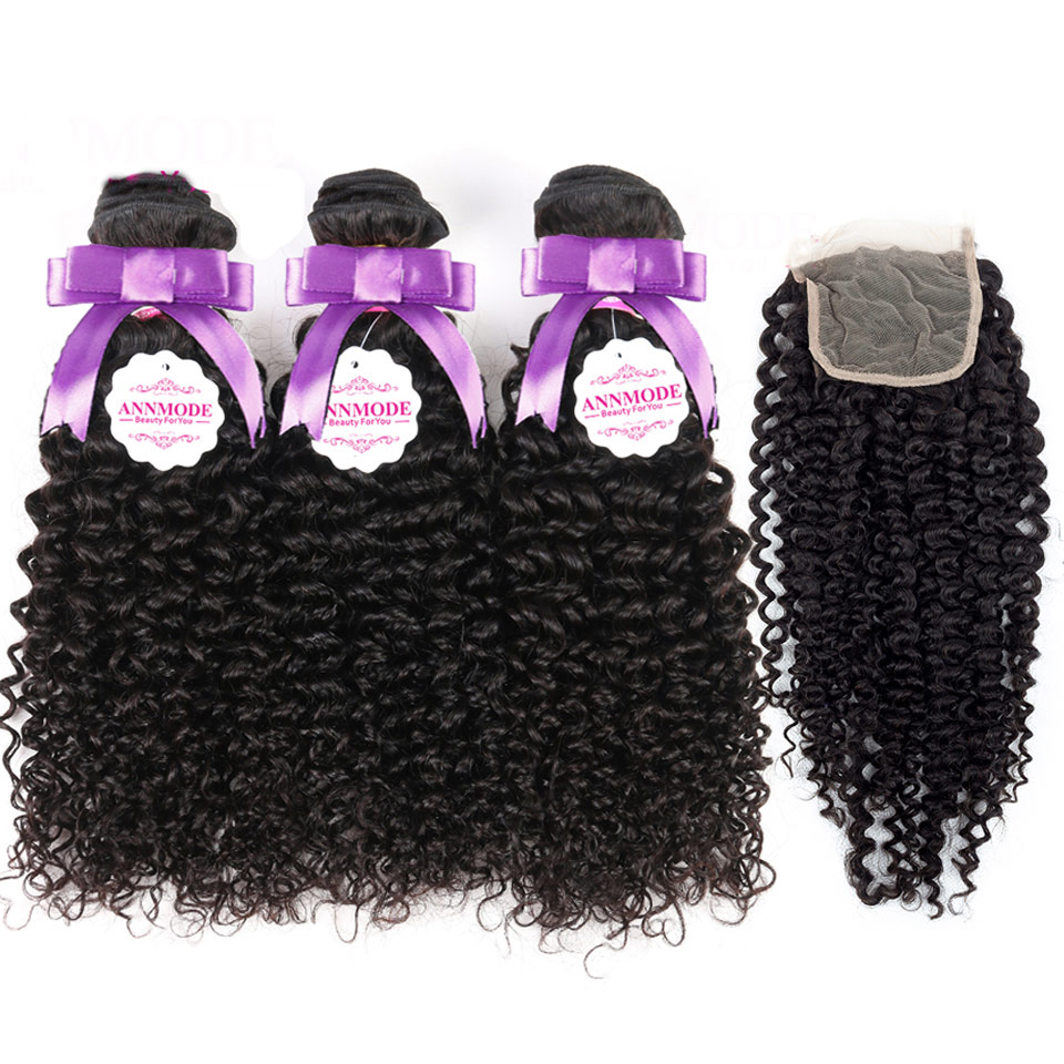 Annmode Brazilian Kinky Curly Human Hair Bundles With Closure 3 Bundles With Closure Non Remy Hair Extensions Free Shipping