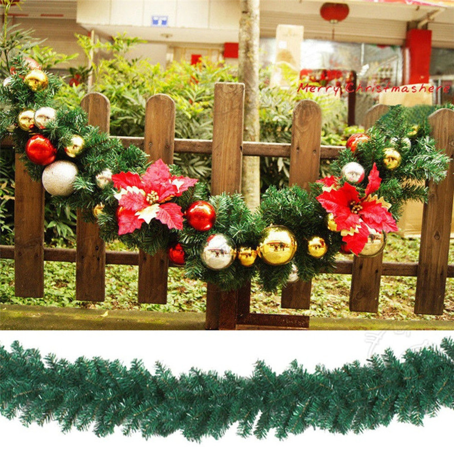 Us 22 41 36 Off 1pc 2 7m 200 Branches Christmas Decorations Ornaments Xmas Tree Garland Rattan Home Wall Pine Large Christmas Wreath Decor 30 In