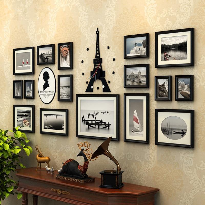 16 pcs/ensemble Photo Cadres En Bois Photo Frame Set avec Acrylique Tour Horloge, Moldura Par Quadros De Parede, mur Photo Cadre Famille