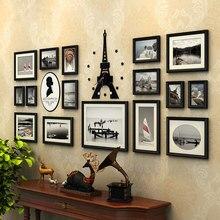 16 шт./компл. фоторамки деревянный фоторамка набор с акриловой башня часы, Moldura Para Quadros де Parede, стены фоторамка Семья