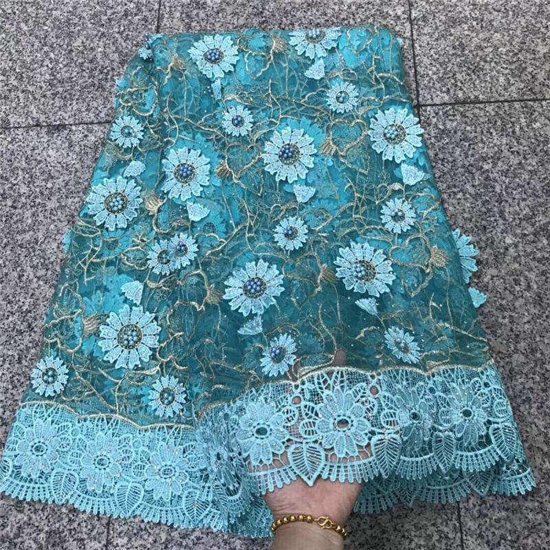 Aqua bleu dernier Style perles pierres dentelle tissu mélange Guipure cordon bord mode dentelle tissu Tulle africain français dentelle tissu 30
