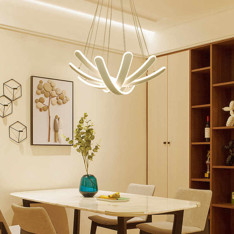 Nordic Contemporary Minimalist Acrylic Foyer Kitchen Dining Table Led Modern Chandelier Living Room Light Rustic Lighting