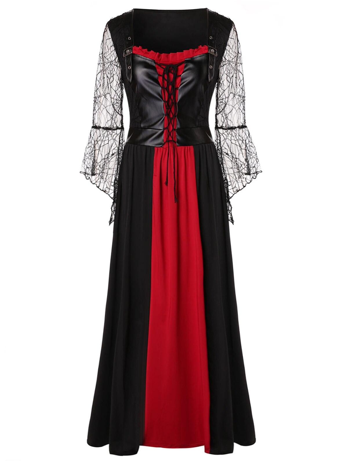 a0d5f379cc7 Wipalo European And American Large Size Elegant Lace Stitching V-Neck  Sleeveless Midi Gothic Dress Plus Size Women Dresses 2018