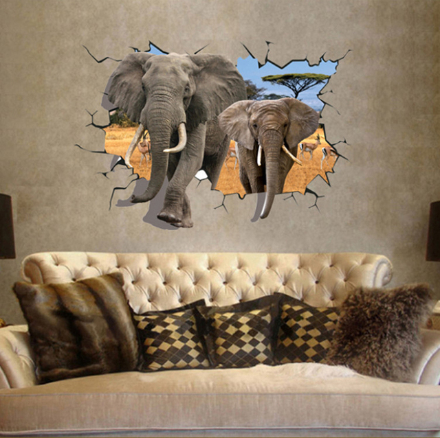Africa Elephant Sticker 3D Elephant Large Wall Decals Kids Room Decoration  Removable PVC Room Wallpaper 70
