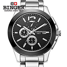 2016 New Trending Men Dress Brand Binger Watch Bracelet Ceramic Large watches Automatic Mens Wristwatches Best