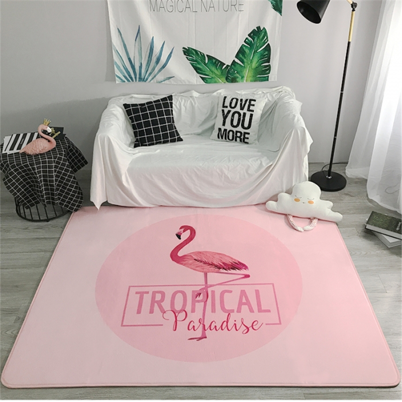 Nordic Carpets Soft Flannel Pink Flamingo Printed Area Rugs Parlor Girls Room Mat Anti-slip Large Rug Carpet Living Room DecorNordic Carpets Soft Flannel Pink Flamingo Printed Area Rugs Parlor Girls Room Mat Anti-slip Large Rug Carpet Living Room Decor