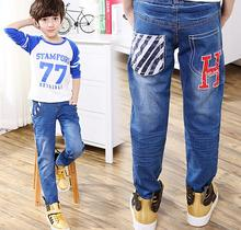 2017 New Boys Jeans For Spring Autumn Denim Black White Stripe Elastic band Baby Jean Kids Pants Children Cotton Casual Trousers