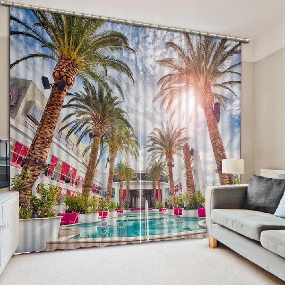 ファッションカスタマイズされた家の寝室の装飾3dカーテンプールホテルココナッツカーテン寝室用ブラックアウトシェードウィンドウカーテン