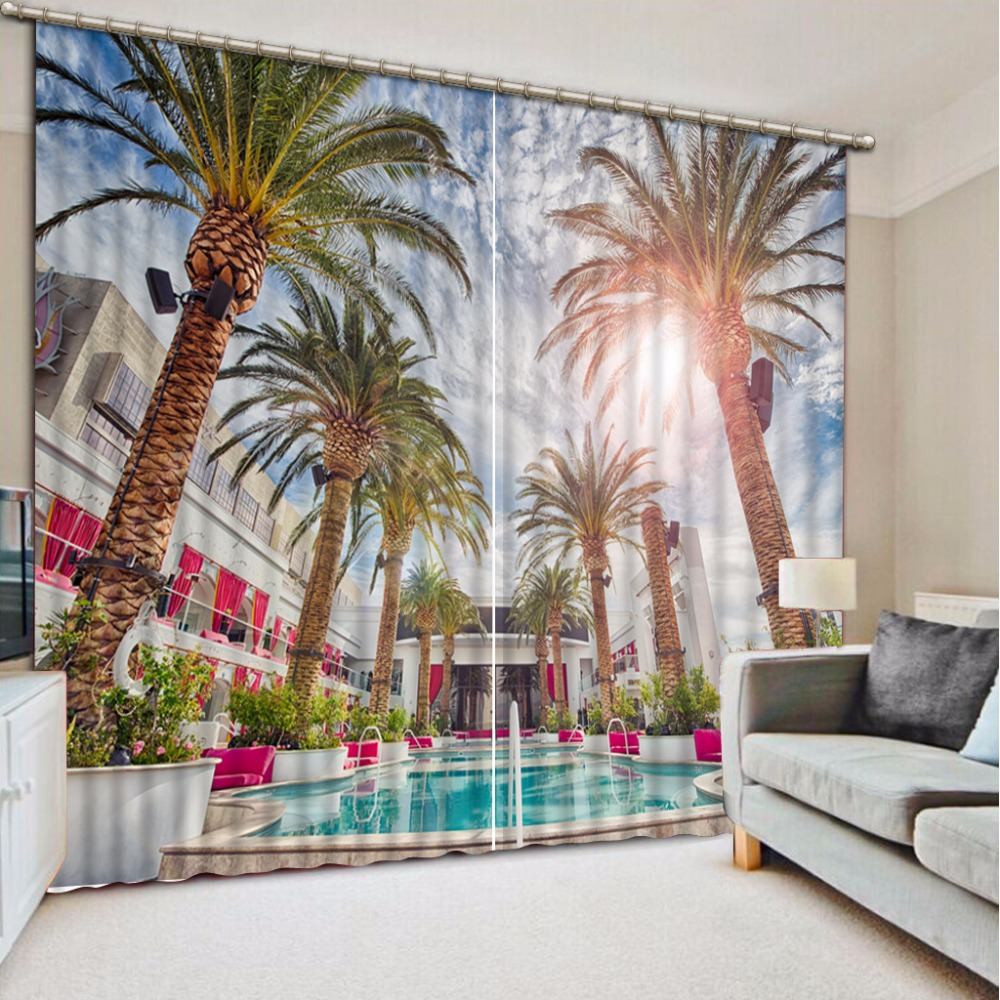 Fashion Customized Home Bedroom Decoration 3D Curtain Pool Hotel Coconut Curtains For Bedroom Blackout Shade Window Curtains