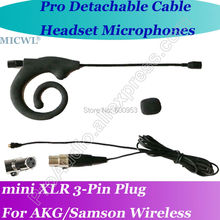 New MICWL mini 3Pin Microfone com fone de ouvido para Detachable Cable Headset Microphone for AKG Samson Gemini Wireless