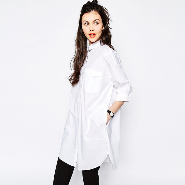 39e9ad3ac White Shirt Dress Autumn Women BF Style Long Sleeve Dresses Loose Casual  Dress Female Sexy Shirt Dress Robe Vestidos AB372