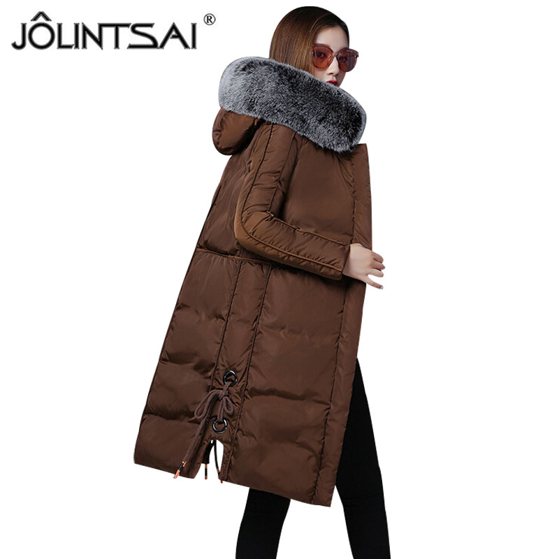 2017 Winter Jacket Women New Large Fur Collar Coat Female Parkas Medium Long Warm Padded Cotton Winter Jackets Women's Clothing ftlzz new women winter jacket cotton coat slim large fur collar hooded parkas padded warm thickness medium long black overcoat