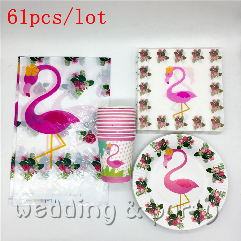 61 Stks/set Flamingo Dier Verjaardag Decoraties Kids Moana Levert Party Servies Cartoon Wegwerp Feestartikelen