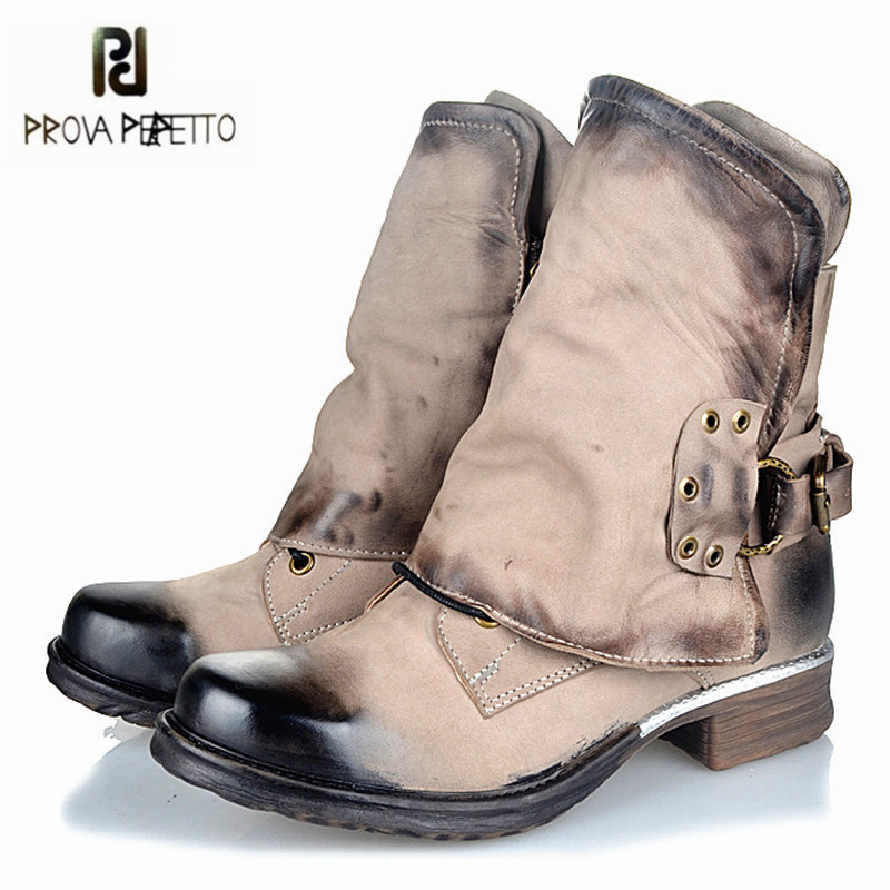 Prova Perfetto Genuine Leather Ankle Boots for Women Retro Platform Flat Boots Buckle Decor Short Botas Mujer Martin Booties prova perfetto black handmade women genuine leather mid calf boots buckle straps martin boots women platform rubber shoes woman