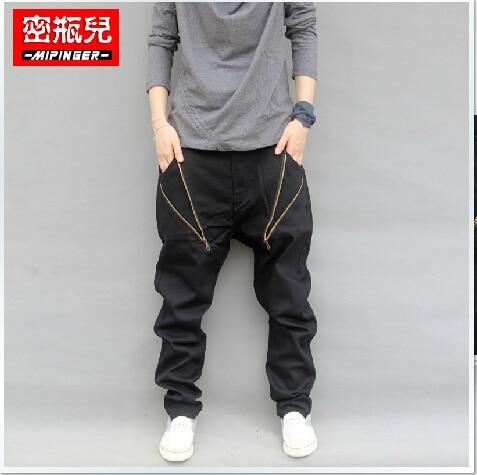 Ropa de los hombres de Moda Hip Hop Casual Harem Cruz Hombres Pantalones Holgados Pantalones Tiro Caído Pantalones Hombre Mens Joggers