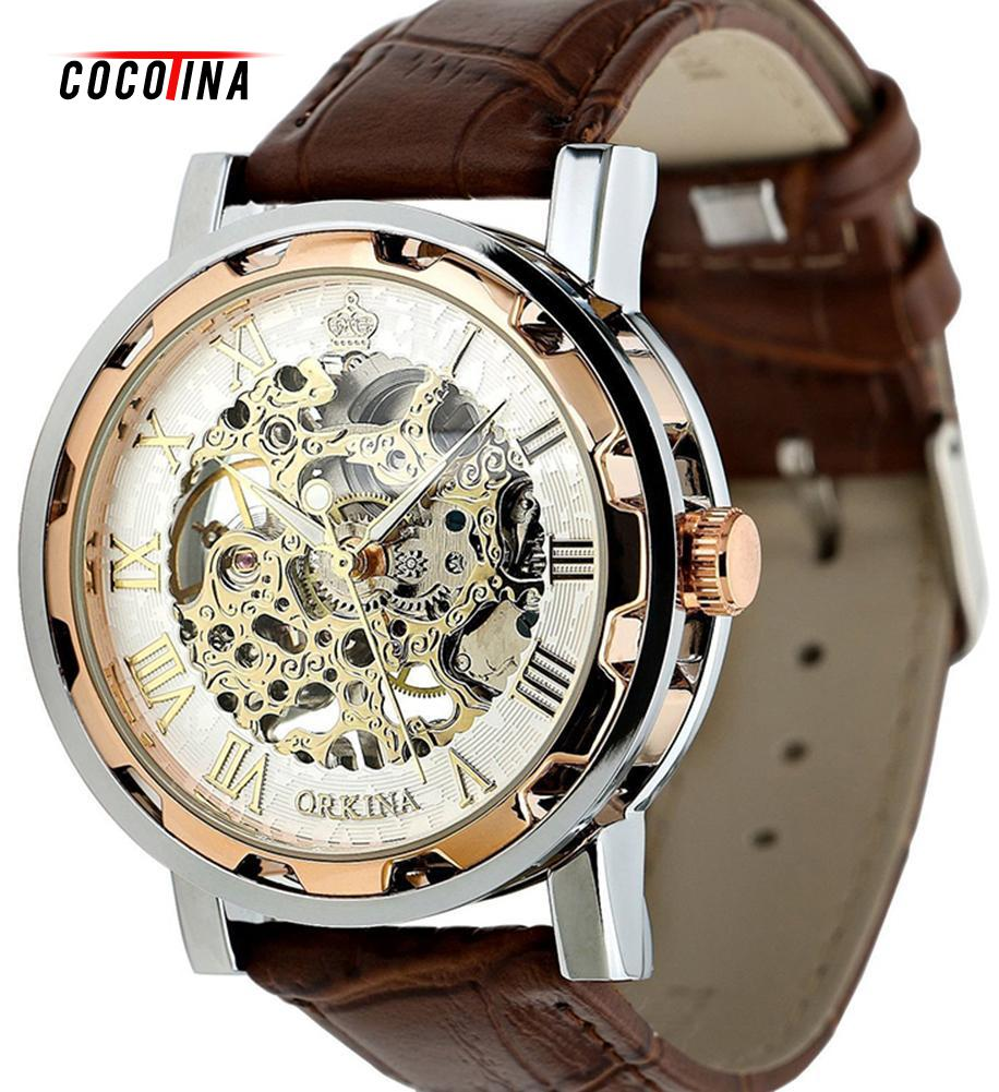 COCOTINA Men's Gold Dial Skeleton Black Leather Mechanical Sport Army Wrist Watch L051157 hcandice new top selling classic men s leather dial skeleton mechanical sport army wrist watch gift 1pcs dec 13
