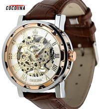COCOTINA hombres Dial de Oro Skeleton Negro Ejército Deportivo Reloj de pulsera de Cuero Mecánico L051157