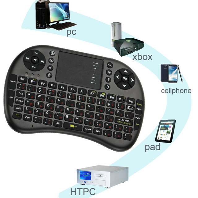 Russian Version 2.4G Mini QWERTY Wireless Gaming Keyboard Touchpad Fly Air Mouse Remote Control for PC/Android Tv Box/X360/PS3