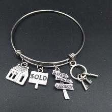 Stainless Steel Expandable Wire Bangle House Sold Charm Bracelet Cute DIY Jewelry Gift for Real Estate Agent or Realtor
