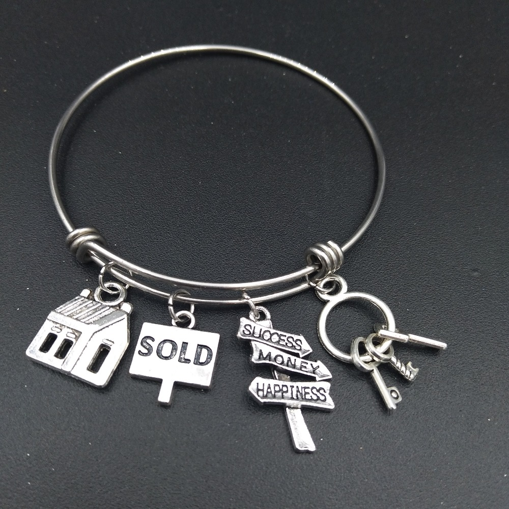 Stainless Steel Expandable Wire Bangle House Sold Charm Bracelet Cute DIY Jewelry Gift f ...