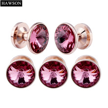 5 pcs In one Set Tuxedo Studs For Men Wedding Party Jewelry Black Gun Plated Crystal Cuff links Studs Buttons