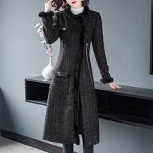 Brand Fashion Women Winter Tweed Woolen Jackets and Coats 2018 Elegant Full Sleeve Vintage Plaid Long Wool Overcoat Outerwear
