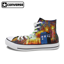 Unique High Top Sneakers Men Women Converse All Star Tardis Farewell To Anger Police Box Design Hand Painted Canvas Shoes