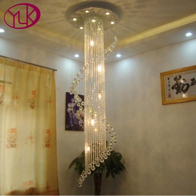 Youlaike Modern Crystal Chandelier For Stair Luxury LED Living Room Lighting  Fixture Spiral Design Long Crystals