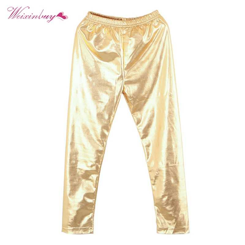 8c5f26e364def WEIXINBUY Girl Leggings New Baby Kids Metallic Ballet Toddler Pants Trouser  Thin Girls Faux Leather Pants