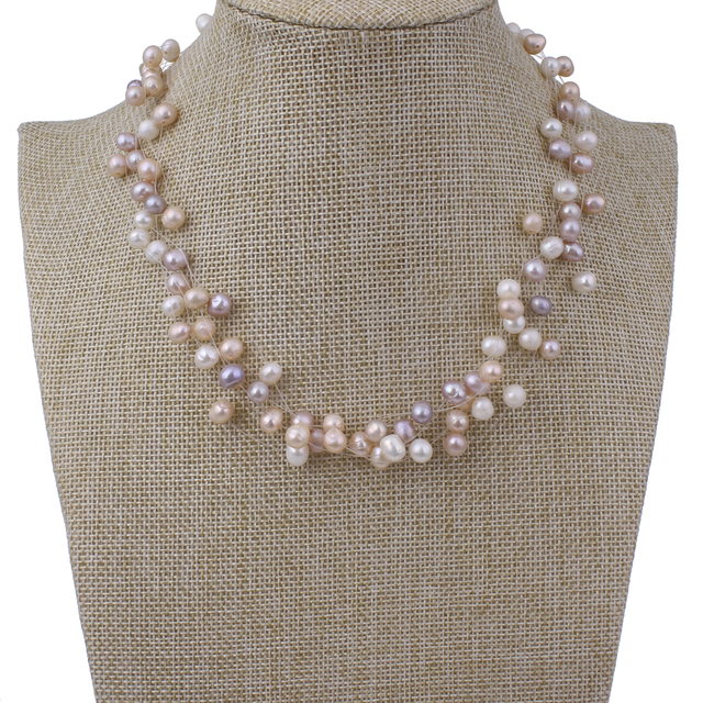 Natural Freshwater Pearl Necklace new famous fashion brand White Pink Pearl Beads Multi Strand Choker Necklace Wedding Bridal