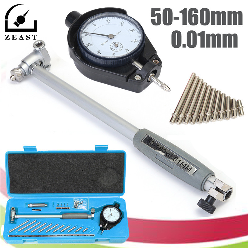 50-160MM Engine Cylinder Dial Bore Gauge Indicator Grad 0.01mm Diameter Indicators Precision Measuring Test Tool Meter Blue Case цена