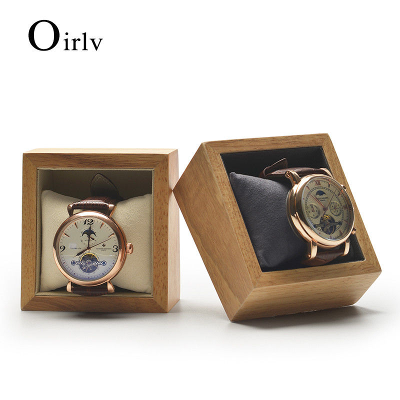 Oirlv Watch Box Solid Primary Colors Packing Gift Box Wooden Top Jewelry Oragnizer Watch Bracelet Storage