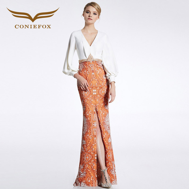 4efe7681832e CONIEFOX 31616 Orange Luxury V-neck prom dresses Ladies evening party dress  gown long Xmas dress robe de soiree vestido de festa