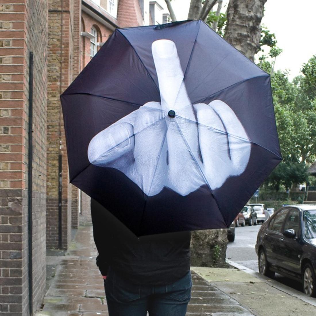 2016 Hot Sale Novelty Middle <font><b>Finger</b></font> Design Black Umbrella Cool Fashion Impact Umbrella 3 Fold Convinience High Quality Umbrella