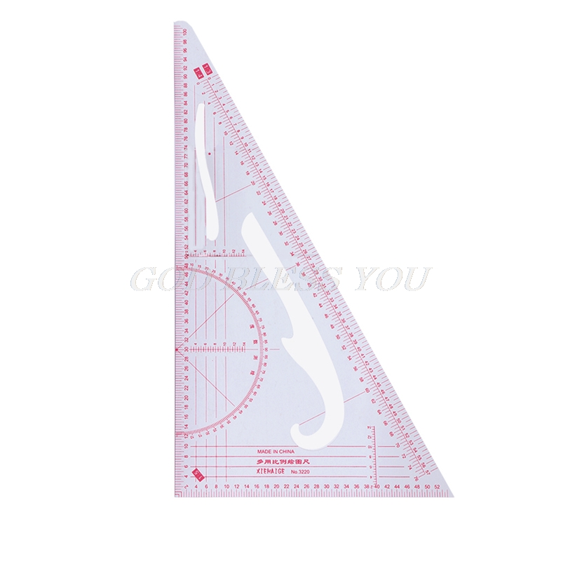 Multi-function Triangular Scale Ruler Measure Plastic Dressmaking Tailor Sewing