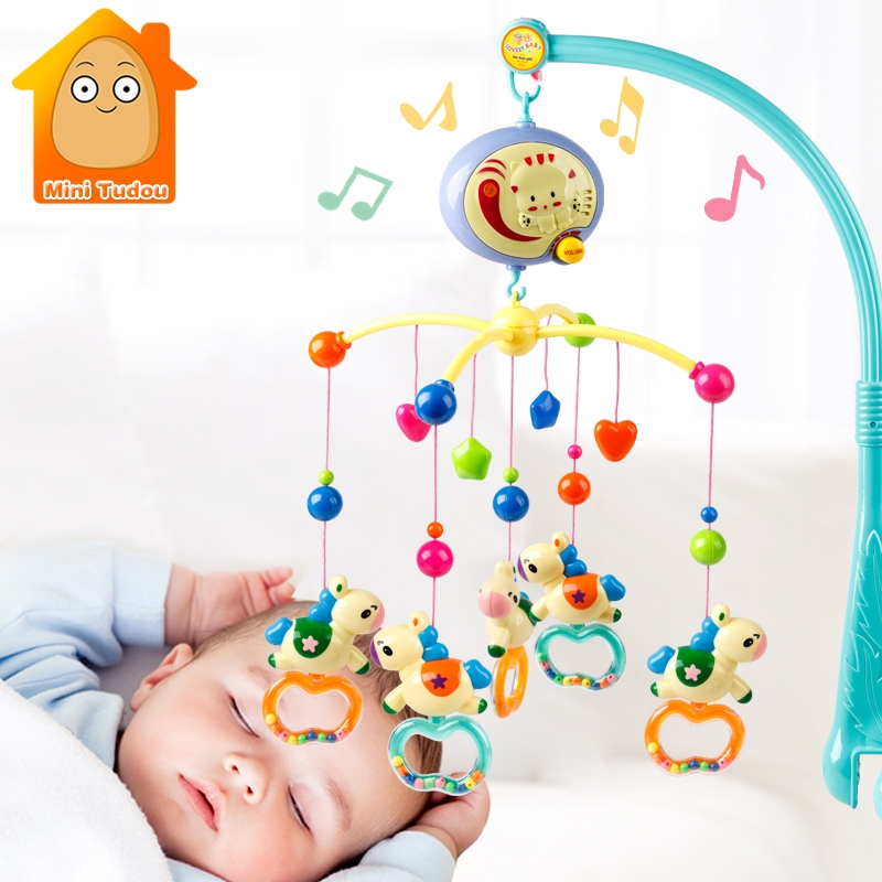 Baby Bed Bell Toy Rotating Music Box Hanging Baby Rattle Bracket Crib Mobile Holder Toys For Babies 0-12 13-24 Months