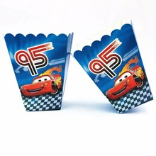 6pcs/set  Lightning Mcqueen Party Supplies Paper Popcorn Boxes Baby Shower Birthday Decoration Favors Set