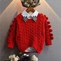 Кардиган для детей 2017 новый зимний вязаный свитер девушки твердые регулярные малыша девушка пуловер свитер pelote детей вязаный кардиган