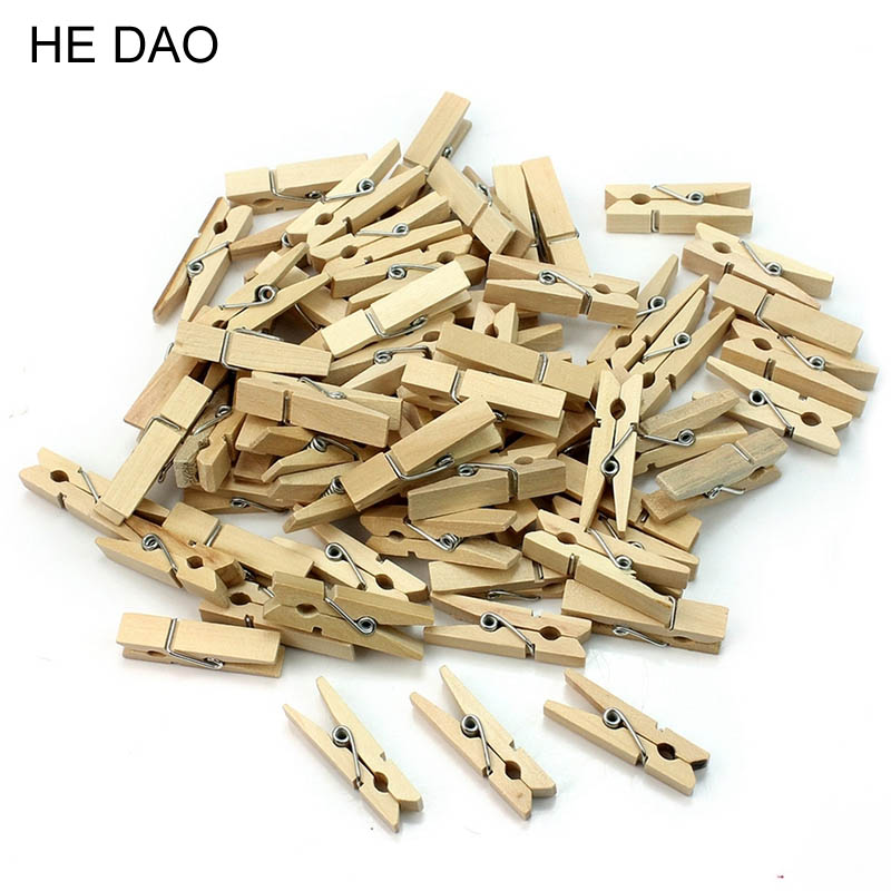 50PCS Wholesale Very Small Mine Size 25mm Mini Natural Wooden Clips For Photo Clips Clothespin Craft Decoration Clips Pegs