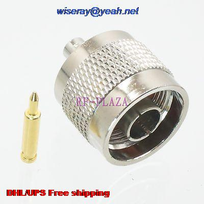 "DHL/EMS 20Con tor N male plug solder for semi-rigid RG402 0.141 inch"" cable Straight -A3 inch"